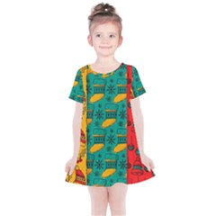 Hand Drawn Christmas Pattern Collection Pattern Kids  Simple Cotton Dress by Vaneshart