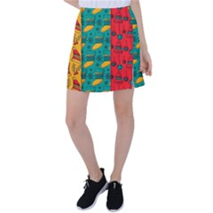 Hand Drawn Christmas Pattern Collection Pattern Tennis Skirt