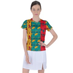 Hand Drawn Christmas Pattern Collection Pattern Women s Sports Top