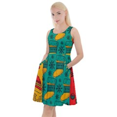 Hand Drawn Christmas Pattern Collection Pattern Knee Length Skater Dress With Pockets
