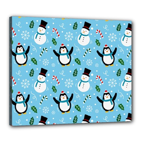 Colorful Funny Christmas Pattern Cartoon Canvas 24  X 20  (stretched)