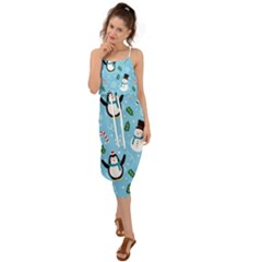 Colorful Funny Christmas Pattern Cartoon Waist Tie Cover Up Chiffon Dress