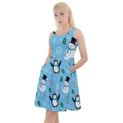 Colorful Funny Christmas Pattern Cartoon Knee Length Skater Dress With Pockets