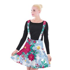 Seamless Winter Pattern With Poinsettia Red Berries Christmas Tree Branches Golden Balls Suspender Skater Skirt