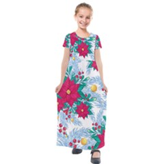 Seamless Winter Pattern With Poinsettia Red Berries Christmas Tree Branches Golden Balls Kids  Short Sleeve Maxi Dress