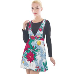Seamless Winter Pattern With Poinsettia Red Berries Christmas Tree Branches Golden Balls Plunge Pinafore Velour Dress