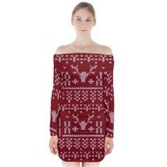 Beautiful Knitted Christmas Pattern Red Long Sleeve Off Shoulder Dress