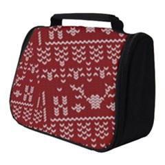 Beautiful Knitted Christmas Pattern Red Full Print Travel Pouch (small)