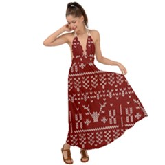 Beautiful Knitted Christmas Pattern Red Backless Maxi Beach Dress
