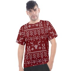 Beautiful Knitted Christmas Pattern Red Men s Sport Top