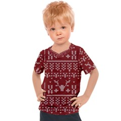 Beautiful Knitted Christmas Pattern Red Kids  Sports Tee