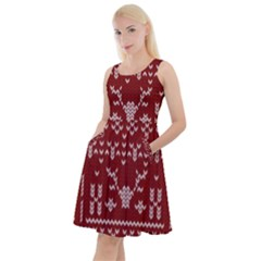 Beautiful Knitted Christmas Pattern Red Knee Length Skater Dress With Pockets