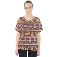 Beautiful Knitted Christmas Pattern Xmas V-neck Dolman Drape Top by Vaneshart