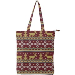 Beautiful Knitted Christmas Pattern Xmas Double Zip Up Tote Bag