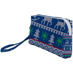 Knitted Christmas Pattern Wristlet Pouch Bag (small) by Vaneshart