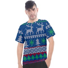 Knitted Christmas Pattern Men s Sport Top