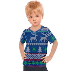 Knitted Christmas Pattern Kids  Sports Tee
