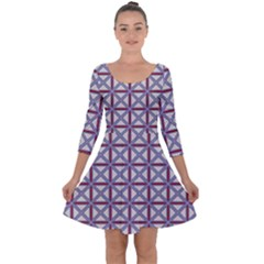 Df Donos Grid Quarter Sleeve Skater Dress by deformigo