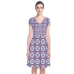 Df Donos Grid Short Sleeve Front Wrap Dress by deformigo