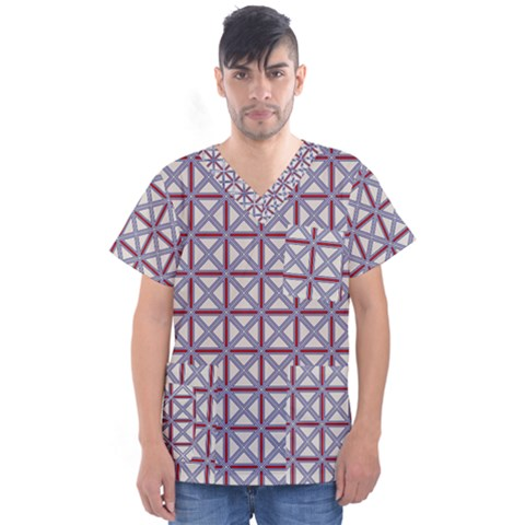 Df Donos Grid Men s V-neck Scrub Top by deformigo