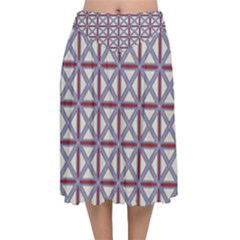 Df Donos Grid Velvet Flared Midi Skirt by deformigo