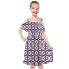 Df Donos Grid Kids  Cut Out Shoulders Chiffon Dress by deformigo