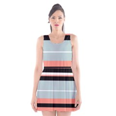 Bandes Orange/bleu/noir Scoop Neck Skater Dress