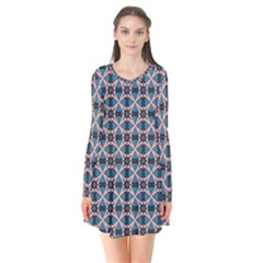 Df Alhambrine Cetta Long Sleeve V-neck Flare Dress by deformigo