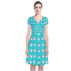 Big Apples Of Peace Short Sleeve Front Wrap Dress by pepitasart
