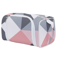 Pink, Gray, And White Geometric Toiletries Pouch by mccallacoulture