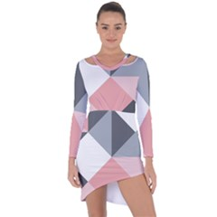 Pink, Gray, And White Geometric Asymmetric Cut-out Shift Dress by mccallacoulture