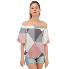 Pink, Gray, And White Geometric Off Shoulder Short Sleeve Top
