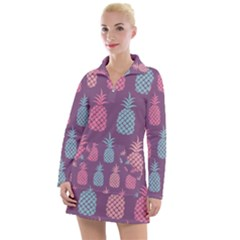 Pineapple Wallpaper Pattern 1462307008mhe Women s Long Sleeve Casual Dress