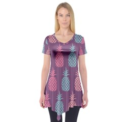 Pineapple Wallpaper Pattern 1462307008mhe Short Sleeve Tunic