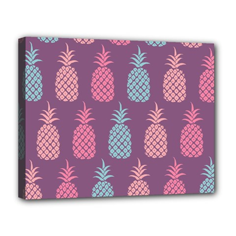 Pineapple Wallpaper Pattern 1462307008mhe Canvas 14  X 11  (stretched)