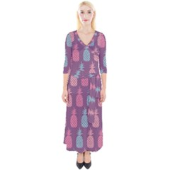 Pineapple Wallpaper Pattern 1462307008mhe Quarter Sleeve Wrap Maxi Dress