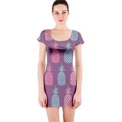 Pineapple Wallpaper Pattern 1462307008mhe Short Sleeve Bodycon Dress