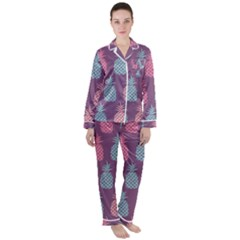 Pineapple Wallpaper Pattern 1462307008mhe Satin Long Sleeve Pyjamas Set