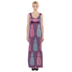 Pineapple Wallpaper Pattern 1462307008mhe Thigh Split Maxi Dress
