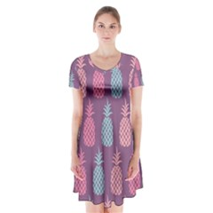 Pineapple Wallpaper Pattern 1462307008mhe Short Sleeve V Neck Flare Dress
