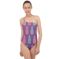 Pineapple Wallpaper Pattern 1462307008mhe Classic One Shoulder Swimsuit