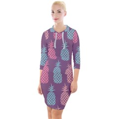 Pineapple Wallpaper Pattern 1462307008mhe Quarter Sleeve Hood Bodycon Dress