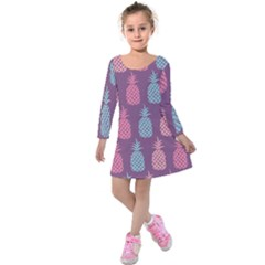 Pineapple Wallpaper Pattern 1462307008mhe Kids  Long Sleeve Velvet Dress
