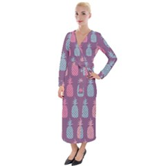 Pineapple Wallpaper Pattern 1462307008mhe Velvet Maxi Wrap Dress