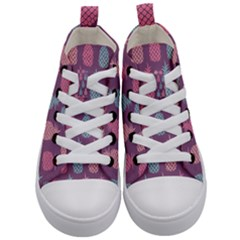 Pineapple Wallpaper Pattern 1462307008mhe Kids  Mid Top Canvas Sneakers