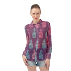 Pineapple Wallpaper Pattern 1462307008mhe Long Sleeve Chiffon Shirt