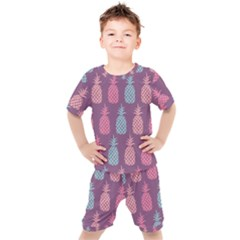 Pineapple Wallpaper Pattern 1462307008mhe Kids  Tee And Shorts Set