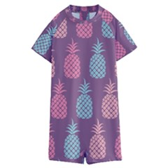 Pineapple Wallpaper Pattern 1462307008mhe Kids  Boyleg Half Suit Swimwear