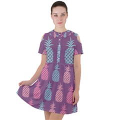 Pineapple Wallpaper Pattern 1462307008mhe Short Sleeve Shoulder Cut Out Dress
