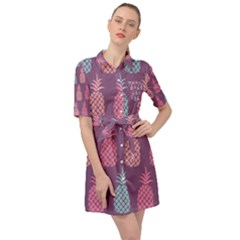 Pineapple Wallpaper Pattern 1462307008mhe Belted Shirt Dress